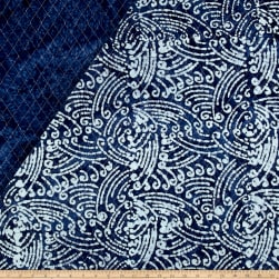 Double Face Quilted Indian Batik Swirls Indigo