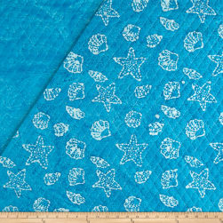 Double Face Quilted Indian Batik Shells Aqua/White Fabric