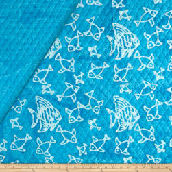Double Face Quilted Indian Batik Fish Aqua/White