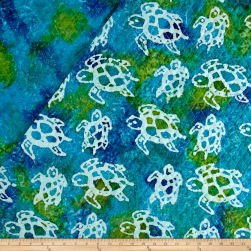 Double Face Quilted Indian Batik Turtle Aqua/Lime Fabric