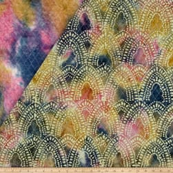 Double Face Quilted Indian Batik Arches Blue/Pink/Yellow Fabric