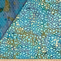 Double Face Quilted Indian Batik Dots Aqua Fabric