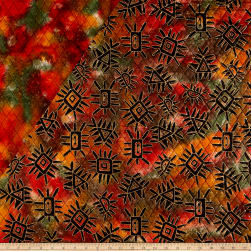 Double Face Quilted Indian Batik Abstract Metallic/Orange Fabric