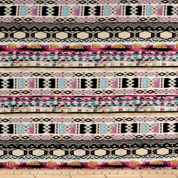 ITY Brushed Jersey Knit Tribal Pattern Pink/Light Brown/Pink/Black Fabric