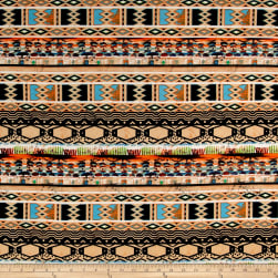 ITY Brushed Jersey Knit Tribal Pattern Orange/Black/Brown Fabric