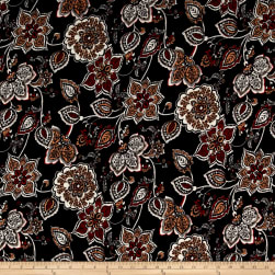 ITY Stretch Jersey Knit Floral Black/Red Fabric