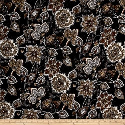 ITY Brushed Jersey Knit Floral Black/Gold Fabric