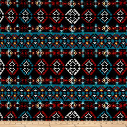 Hacci Sweater Knit Aztec Turquoise/Black/Red/Yellow Fabric