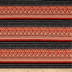 Hacci Sweater Knit Aztec Inspired Black/Maroon/Black