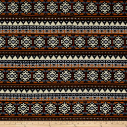 Hacci Sweater Knit Aztec Brown/Blue Fabric