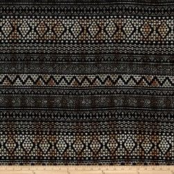 Hacci Sweater Knit Aztec Black/Brown Fabric