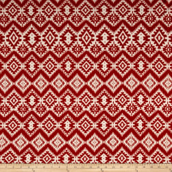 Hacci Sweater Knit Aztec Maroon/Cream Fabric