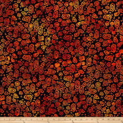Anthology Batik Squiggles Black/Orange Fabric