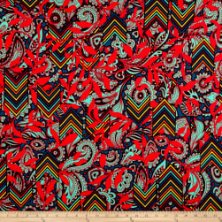 Brushed Jersey Knit Ethnic Geo Green/Red Fabric