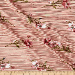 Crinkle Tricot Knit Floral Rose/Terracotta Fabric