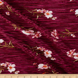 Crinkle Tricot Knit Floral Wine/White Fabric