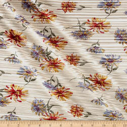 Crinkle Tricot Knit Floral Light Sand/Curry Fabric