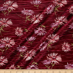 Crinkle Tricot Knit Floral Wine/Orchid Fabric
