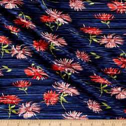 Crinkle Tricot Knit Floral Navy/Poppy Fabric