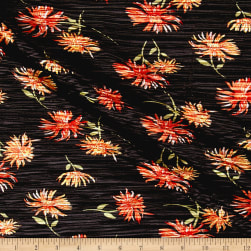 Crinkle Tricot Knit Floral Black/Coral Fabric