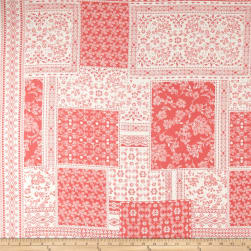 Bubble Crepe Patchwork Double Border Eggshell/Coral
