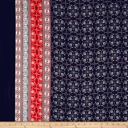 Bubble Crepe Medallion Double Border Red/Black Fabric