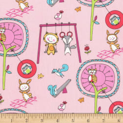 Michael Miller Let's Play Playground Pals Pink Fabric