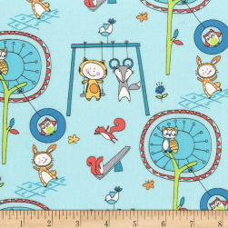 Michael Miller Let's Play Playground Pals Aqua Fabric