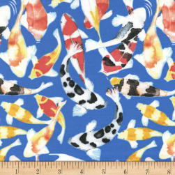Michael Miller Koi Garden Koi Dance Blue Fabric