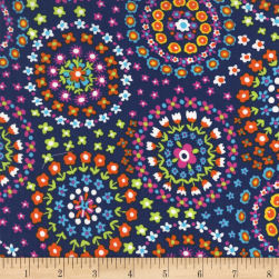 Michael Miller Flowertopia Ring Of Flowers Rainbow Fabric