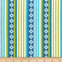 Michael Miller Cuban Beat Havana Stripe Ocean Fabric