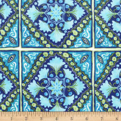 Michael Miller Peacock Pavillion Turkish Tile Sapphire Fabric