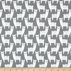 Premier Prints Alpaca Farm Sundown Grey Fabric