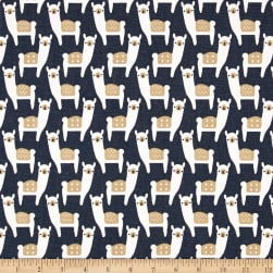 Premier Prints Alpaca Farm Spruce Blue Fabric