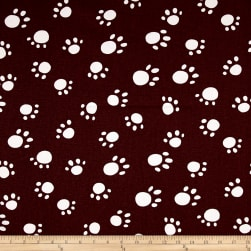 Premier Prints Paws Maroon/White Fabric