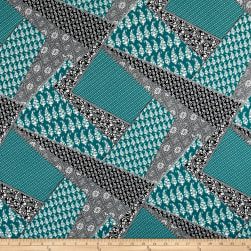 Italian Designer Rayon Jersey Knit Patchwork Teal Fabric