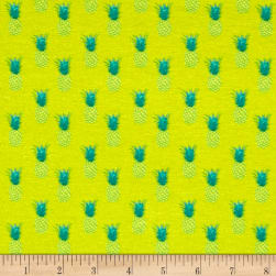French Designer Jersey Knit Pineapples Lime/Green