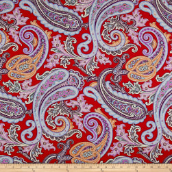 Italian Designer Rayon Jersey Knit  Large Paisley Red Fabric