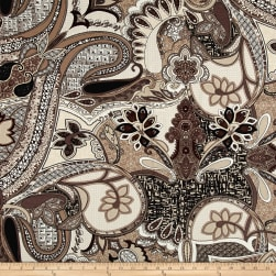Italian Designer Rayon Jersey Knit Paisley Brown/Taupe