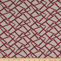 Italian Designer Rayon Jersey Knit Geo Taupe/Red