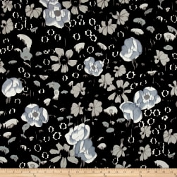 Italian Designer Rayon Jersey Knit Floral Black/Grey