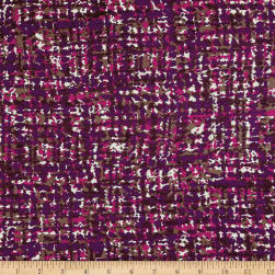 Italian Designer Rayon Jersey Knit Pixelated Plum/Brown Fabric