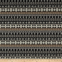 French Designer Cotton Jersey Knit Aztec Black/Grey Fabric