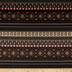 French Designer Pique Tribal Black/Pink/Orange Fabric
