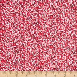 French Designer Rayon Challis Ditsy Floral Red/Blue