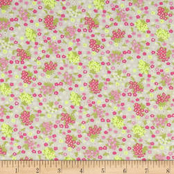 French Designer Cotton Voile Small Floral White/Pink/Yellow
