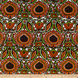 Italian Designer Silk Damask Orange/Green/Brown Fabric