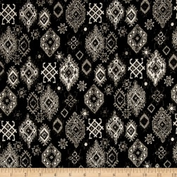 French Designer Medallion Jacquard Black/Taupe Fabric