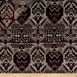 French Designer Cotton Jacquard Aztec Ivory/Burgundy Fabric