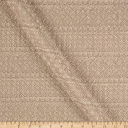 Two Toned Geometric Stripe Lace Tan/White Fabric
